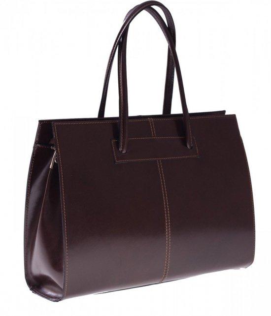 Dámska Aktovka taška z pravej kože A4 čokolády