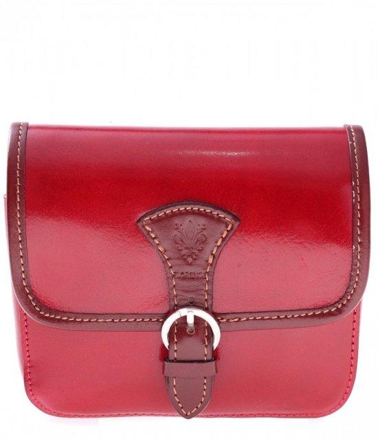 Kožené tašky messenger červená s hnedou