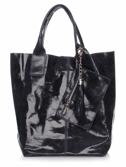 Kožená Taška Shopper Bag Lak Tmavo Modrá