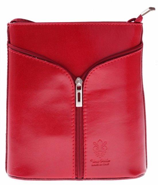 Kožená taška na messenger vyrobená v Taliansku Červená