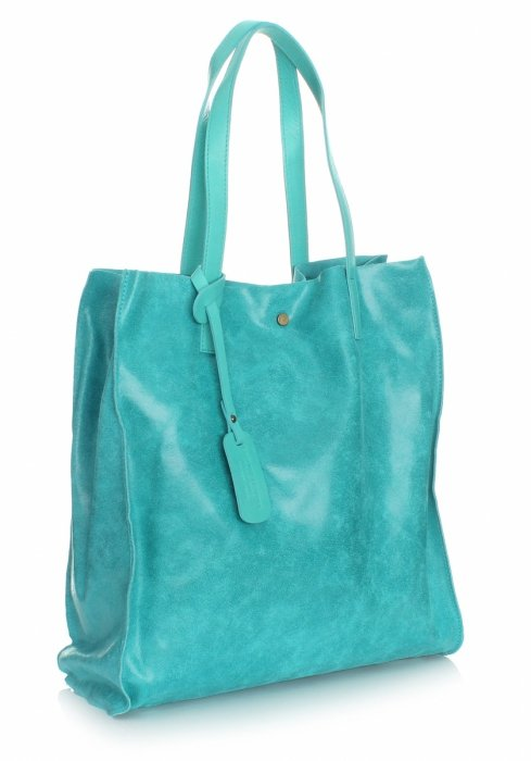 Kožená nákupná taška Shopper taška s kozmetickou taškou tyrkysová