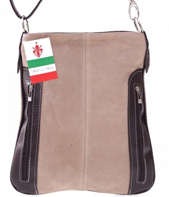 Messenger tašky vyrobené zo semišu nat. Béžová