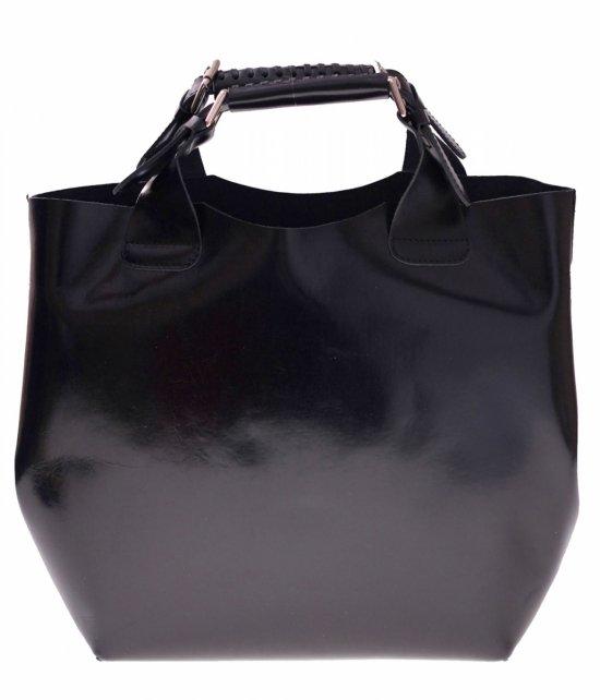 Shopperbag Kožená taška s kozmetickou taškou Čierna