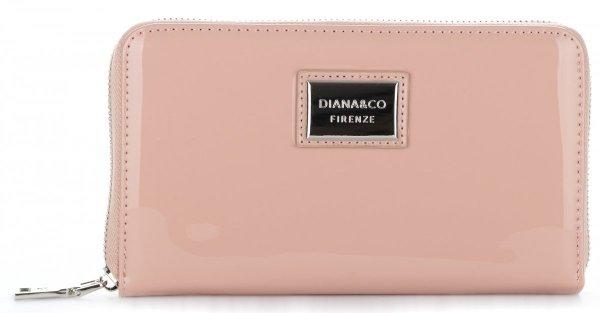 a55d31949bd4a Duży Elegancki Portfel Damski XXL Diana amp Co Firenze Lakier Pudrowy Róż