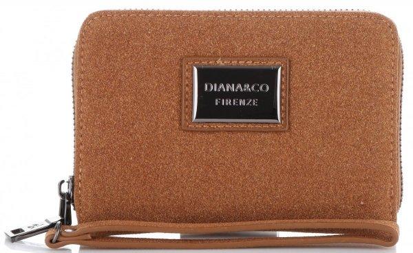 d61166a30f2af Pojemny i Klasyczny Portfel Damski Diana&Co Firenze typu piórnik 2  komory Brązowy