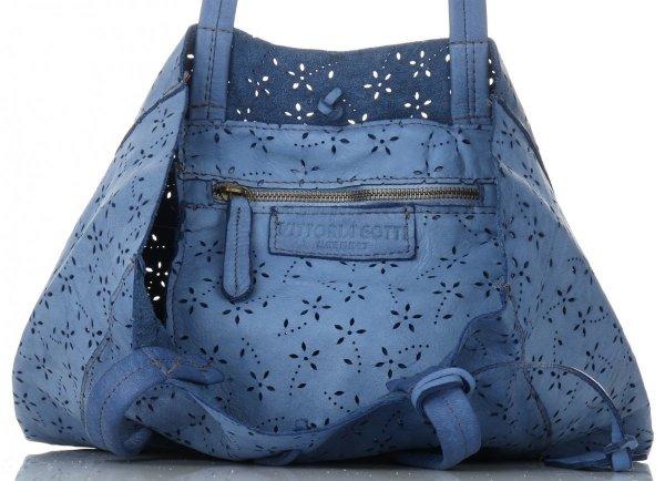 181b99da322f8 Vittoria Gotti Premium Torebka Skórzana Ażurowy ShopperBag w stylu Vintage  Jeansowa