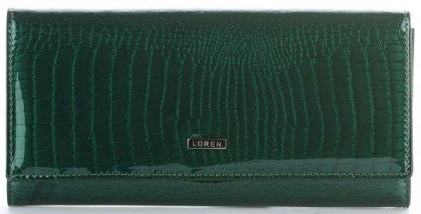 cd0b342617f6f Duży Portfel Damski Skórzany firmy Loren Lakierowany Army Green ...