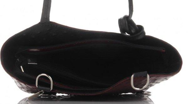 1b3454ca3a35e Włoska Torebka Skórzana firmy Genuine Leather Bordowa z czarnym ...