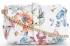 Torebki Skórzane Modne Listonoszki z motywem kwiatów firmy Vittoria Gotti Made in Italy Multikolor Biała