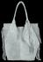 Modna Torebka Skórzana Zamszowy Shopper Bag w Stylu Boho firmy Vittoria Gotti Jasno Szara