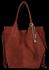 Modna Torebka Skórzana Zamszowy Shopper Bag w Stylu Boho firmy Vittoria Gotti Brązowa