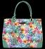 Vittoria Gotti Modna Torebka Skórzana Elegancki Kuferek Made in Italy we wzór malowanych kwiatów Multikolor Zielona