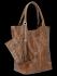 Uniwersalna Torebka Skórzana XL Shopper Bag w motyw zwierzęcy firmy Vittoria Gotti Ziemista