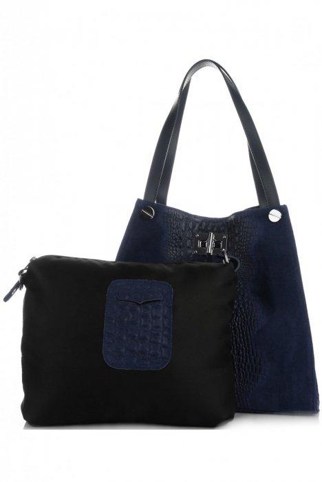 8aa521b75c Velká dámská kožená kabelka Shopper Aligátor Tmavě modrá ...