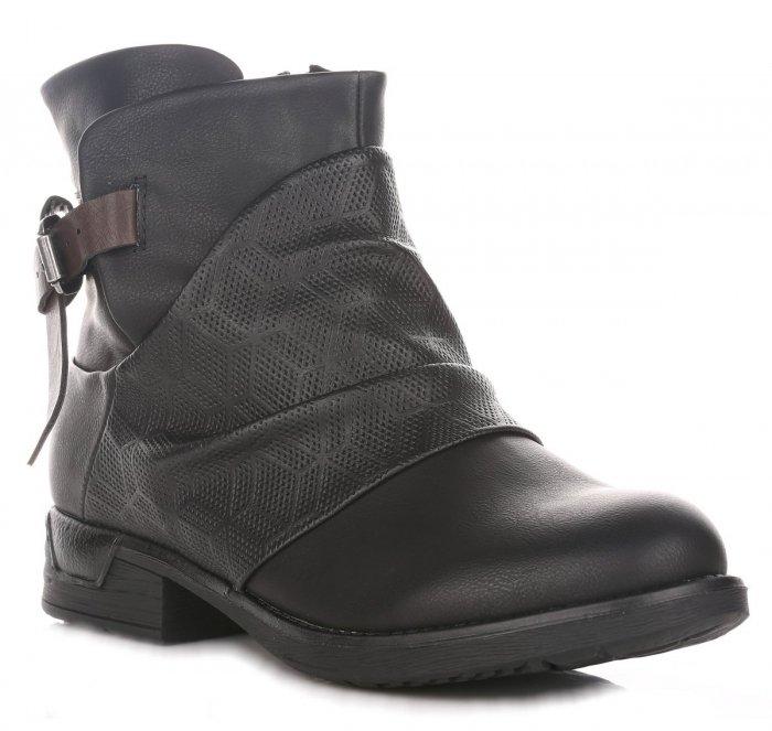 Obuwie damskie botki, stylowe buty skórzane, eleganckie