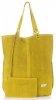 Uniwersalna Torba Skórzana Firmowy Shopper Vittoria Gotti w rozmiarze XXL Zamsz Naturalny wysokiej jakości Żółta