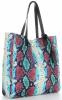 Vittoria Gotti Ekskluzywny Firmowy Shopper XL produkcji Włoskiej w modny wzór węża z Kosmetyczką Turkus