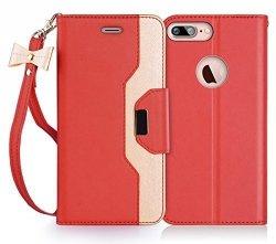 FYY Etui book case ze smyczką i lusterkiem - iPhone 7+/8+ (5.5) (czerwony)