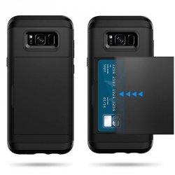 Dual Rugged Case Card Slide - Pancerne etui - Samsung Galaxy J7 2016 J710 (szary) + szkło hartowane