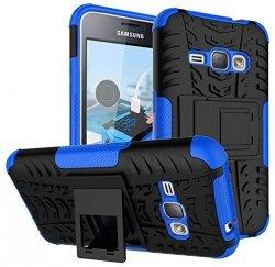 Armor Rugged DUAL Case Mocne Etui Futerał - Samsung Galaxy J1 2016 J120 (black-blue)