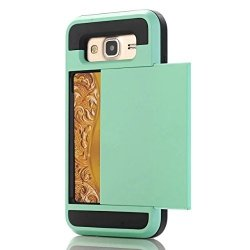 Dual Rugged Case Card Slide - Pancerne etui - Samsung Galaxy J7 2016 J710 (miętowy) + szkło hartowane