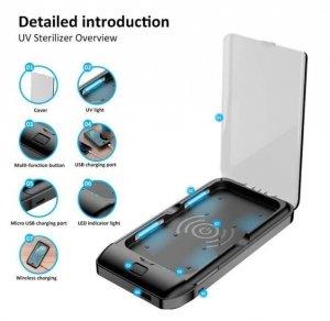 STERYLIZATOR UV-C + ŁADOWARKA INDUKCYJNA + POWERBANK 5000mAh do telefonów iPhone Samsung Huawei inne