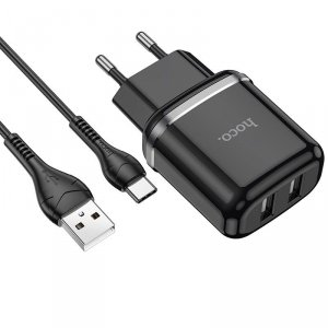 HOCO N4 ASPIRING NETWORK CHARGER + TYPE-C CABLE BLACK