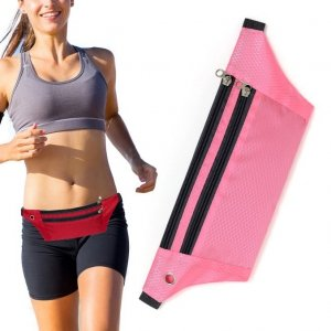 Pas do biegania saszetka nerka na etui na telefon z wyjściem na słuchawki różowy
