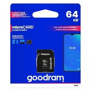 Goodram Microcard 64 GB karta pamięci micro SD XC UHS-I class 10, adapter SD (M1AA-0640R12)