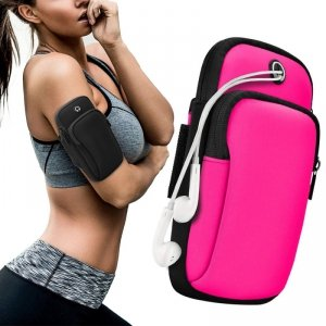 Armband do biegania opaska na ramię sportowe etui na telefon różowy