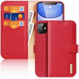 Dux Ducis Hivo skórzane etui z klapką pokrowiec ze skóry naturalnej portfel na karty i dokumenty iPhone 11 czerwony