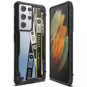 Ringke Fusion X Design etui pancerny pokrowiec z ramką Samsung Galaxy S21 Ultra 5G czarny (Ticket band) (XDSG0055)