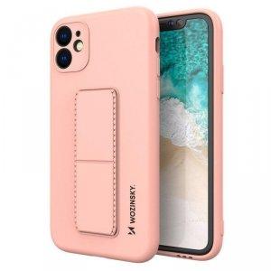 Kickstand Case elastyczne silikonowe etui z podstawką iPhone SE 2020 / iPhone 8 / iPhone 7 różowy
