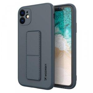 Kickstand Case elastyczne silikonowe etui z podstawką iPhone 11 granatowy