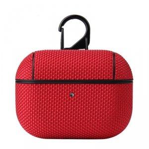 Nylon AirPods Case nylonowe etui hard case do AirPods Pro z karabińczykiem czerwony