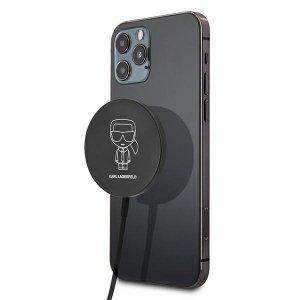 Karl Lagerfeld bezprzewodowa ładowarka indukcyjna (kompatybilna z MagSafe) 15W + kabel USB Typ C czarny (KF000566-0)