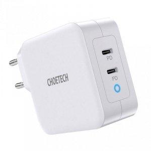 Choetech GaN szybka ładowarka 2x USB Typ C Power Delivery 3.0 QuickCharge 3.0 AFC 100W EU biały (PD6008-EU)