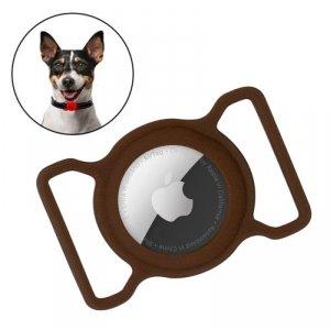 Zestaw obroża i etui do Apple AirTag dla psa kota zawieszka case do lokalizatora Apple AirTag brązowy