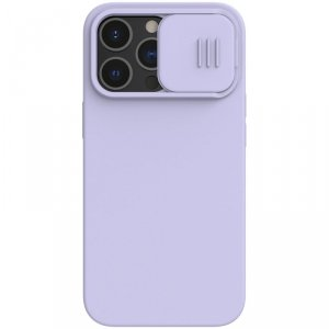 Nillkin CamShield Silky Silicone Case etui pokrowiec z osłoną na aparat do iPhone 13 Pro fioletowy