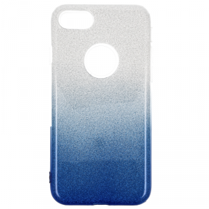 Etui Glitter IPHONE 8 srebrno- niebieskie