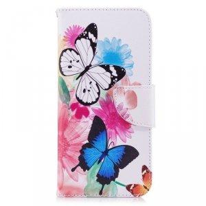 Etui portfel leather LG G7 motyle i kwiat