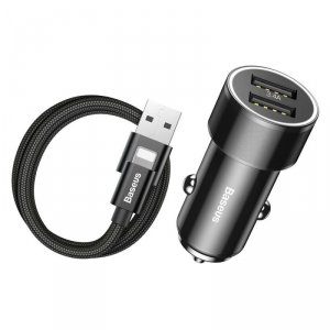Ładowarka samochodowa 2xUSB +kabel Lightning Iphone Baseus Small Screw 3.4A Dual-USB iP  Car  Charging Set Black TZXLD-A01
