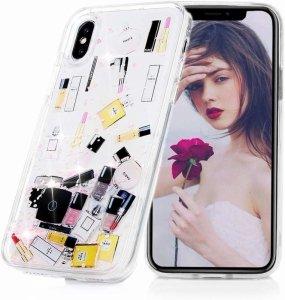 Etui IPHONE X / XS Liquid Make Up Brokat różowe