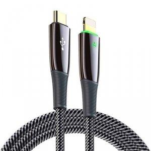 Kabel USB Typ C na iPhone Lightning 18W 300cm (3m) Dux Ducis USB K-IV LED czarny