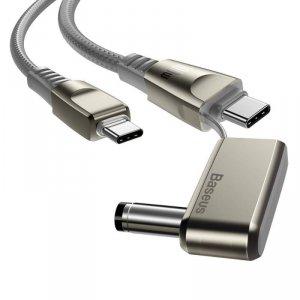 Kabel 100W 2m USB Typ C na USB Typ C + Adapter DC Ładowania Laptopa Szybkie Ładowanie i Transfer Danych Baseus Flash Series One-