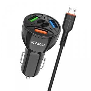 Ładowarka Samochodowa 20W 4,8A QC3.0 3xUSB + Kabel Micro USB KAKU Three Port Quick Charge 3.0 Car Charger with MicroUSB Cable (K