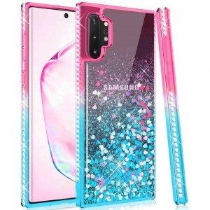 Etui SAMSUNG GALAXY S21+ PLUS Diamond Liquid Przelewany Brokat różowo-niebieskie