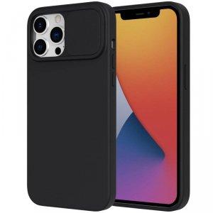 Etui IPHONE 12 Silikonowe z Osłoną na Aparat Nexeri Silicone Lens czarne