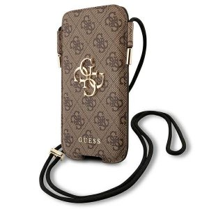 Guess Torebka na telefon GUHCP12M4GPSBR 6,1 brązowy/brown 4G Metal Logo