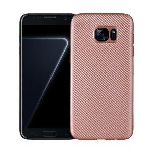 Etui Carbon Fiber Samsung S7 Edge G935 różowo złoty